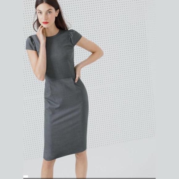 c7509434b1 J. Crew Dresses   Skirts - J. Crew Puff Sleeve Gray Dress Super 120s